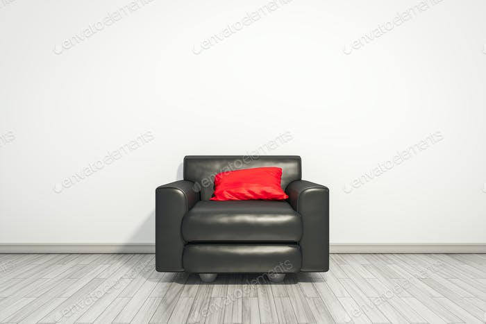 armchair with red pillow