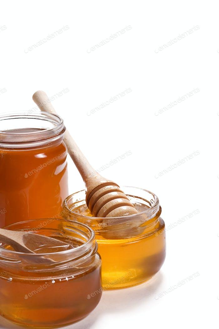 glass pots of honey