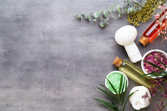 Spa natürliche Hautpflegeprodukte Hintergrund mit Raum.