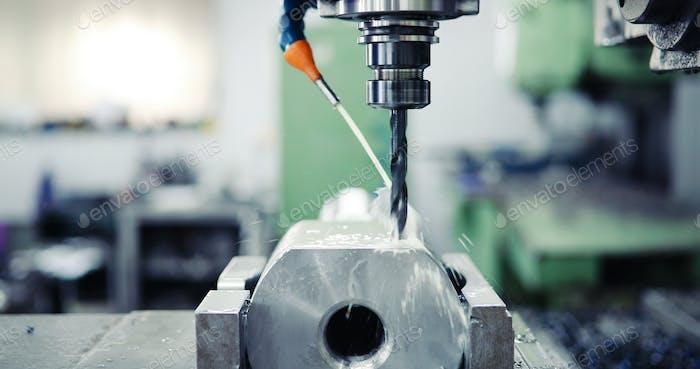 Close up of CNC machine
