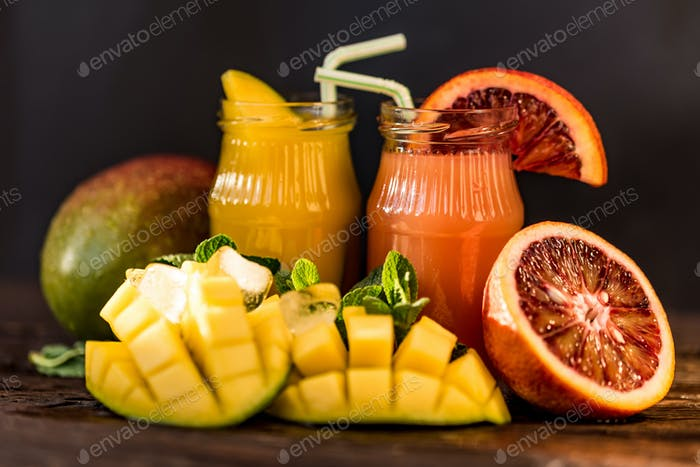 Glasses of juices. Refreshments and summer drinks.