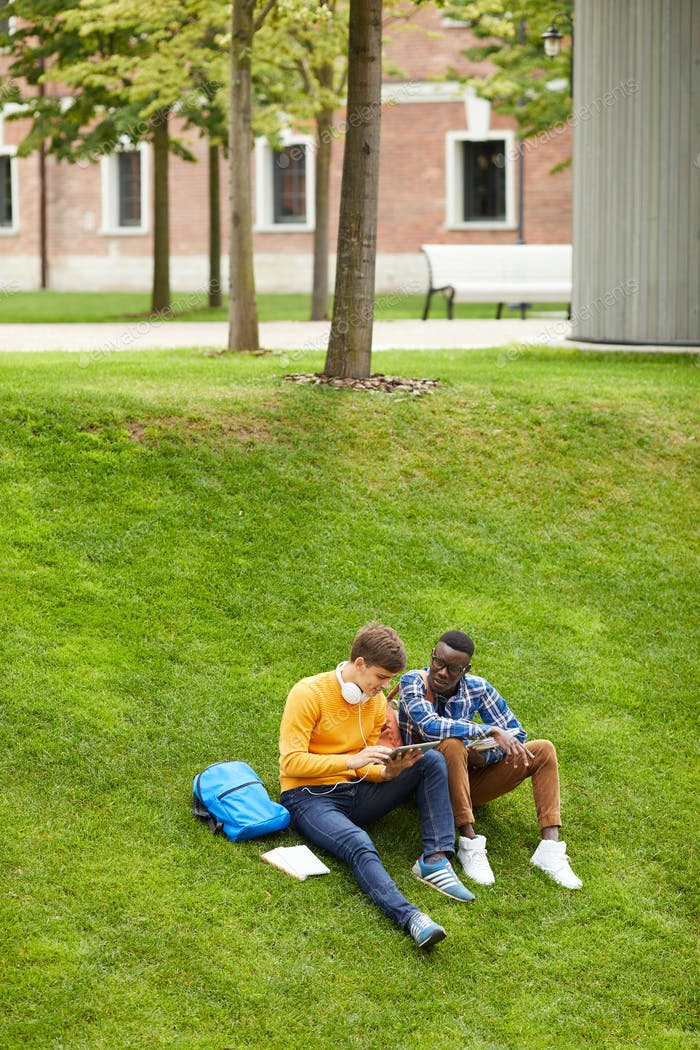 Students Resting on Lawn
