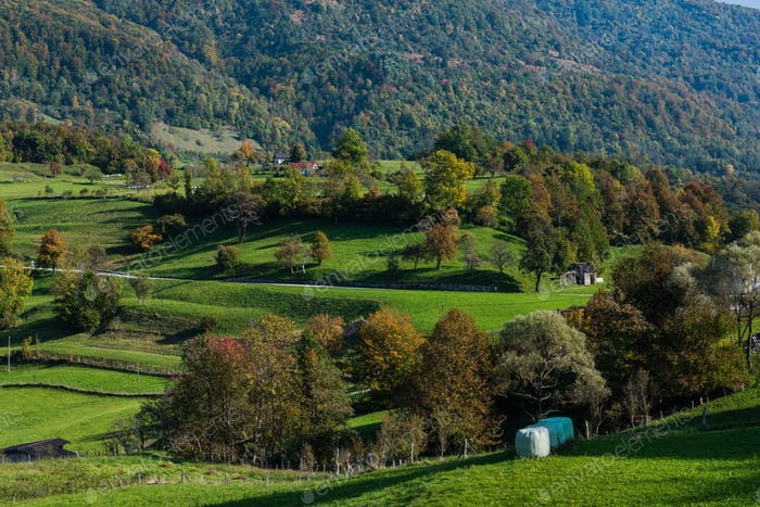 Hügellandschaft im ländlichen Slowenien