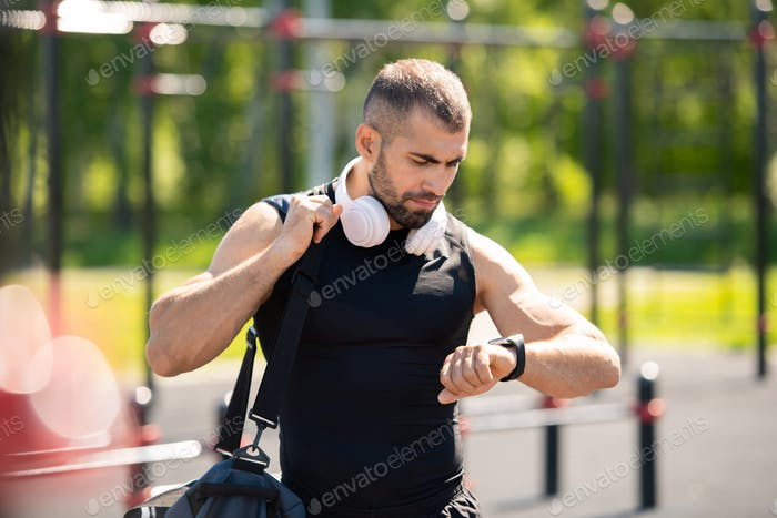 Athlete with headphones