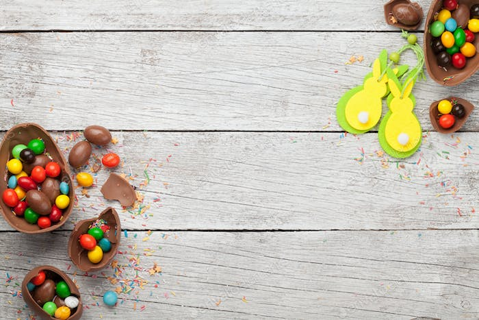 Chocolate easter eggs and colorful sweets
