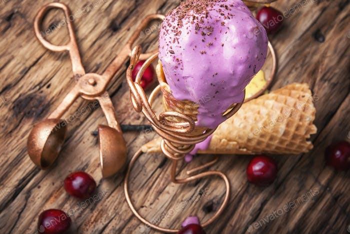 Cherry ice cream in waffle