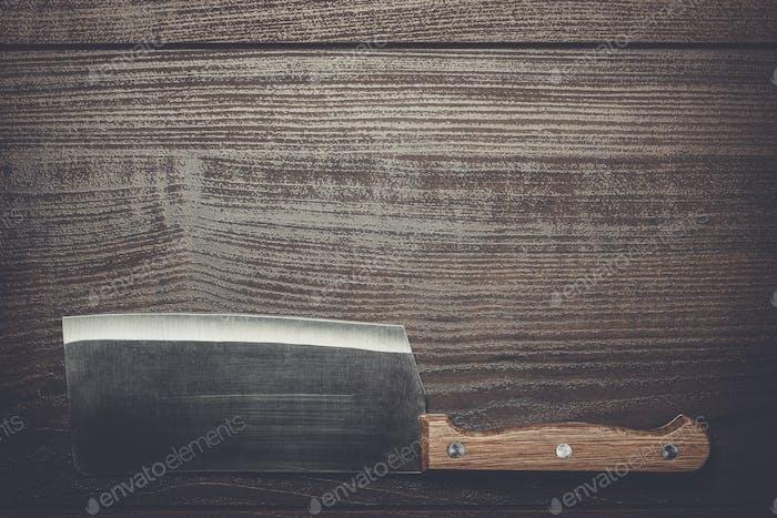 cuchillo de Cocina sobre mesa de De madera marrón
