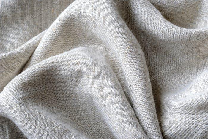Textura reunida y doblada de tela de lino tejida