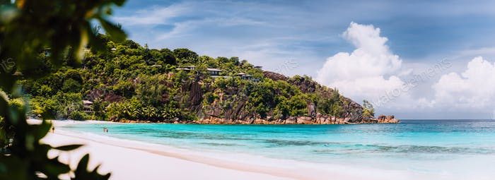 Amazing Petite Anse beach. Vacation holidays honeymoon at the luxury resort island Mahe Seychelles