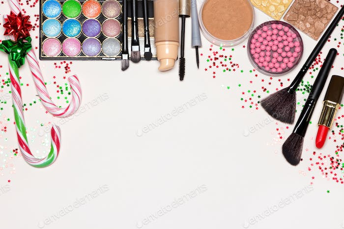 Christmas makeup cosmetics with copy space