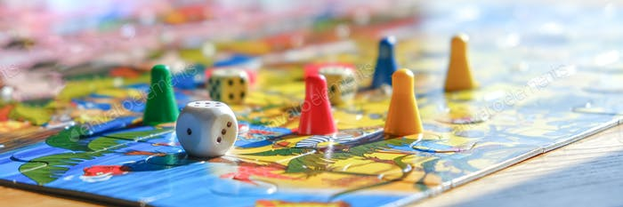 Board games. Home hobby leisure with children. Family fun, digital detox, mental health