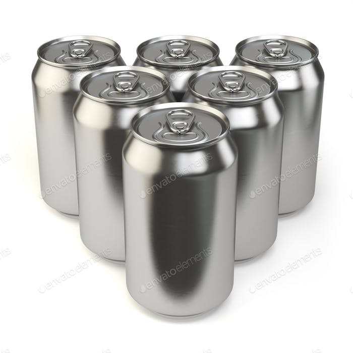 Beer cans isolated on white background.