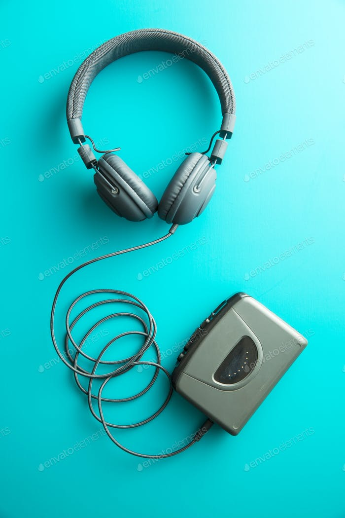 The vintage audio player and headphones.