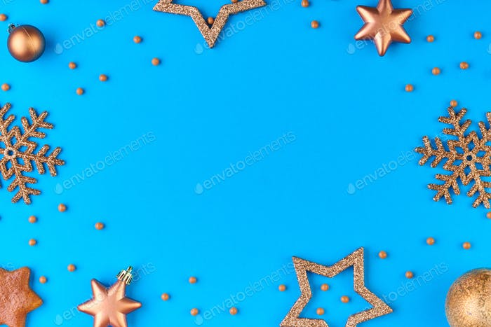 Bright blue background with copyspace for your text, greeting or xmas advert
