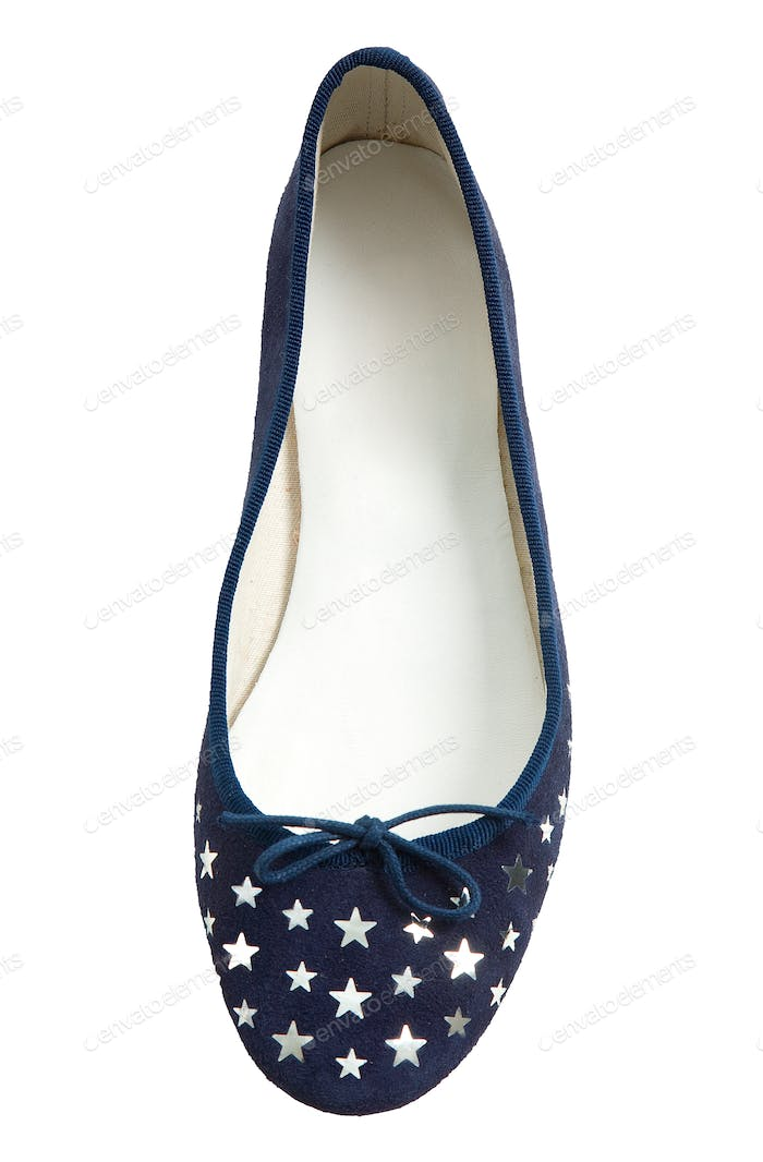 Silver stars blue lace flat ballerinas