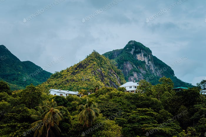 Villas sitting in mountains on Mahe Island, Seychelles