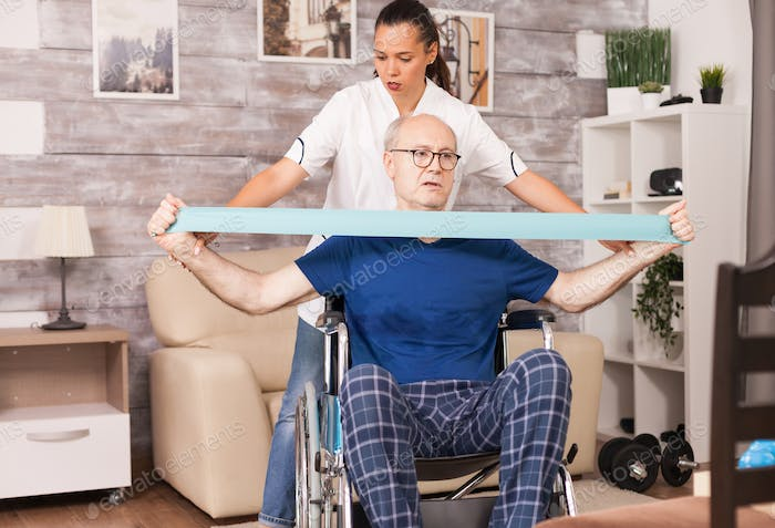 Old man doing muscle injury exercise