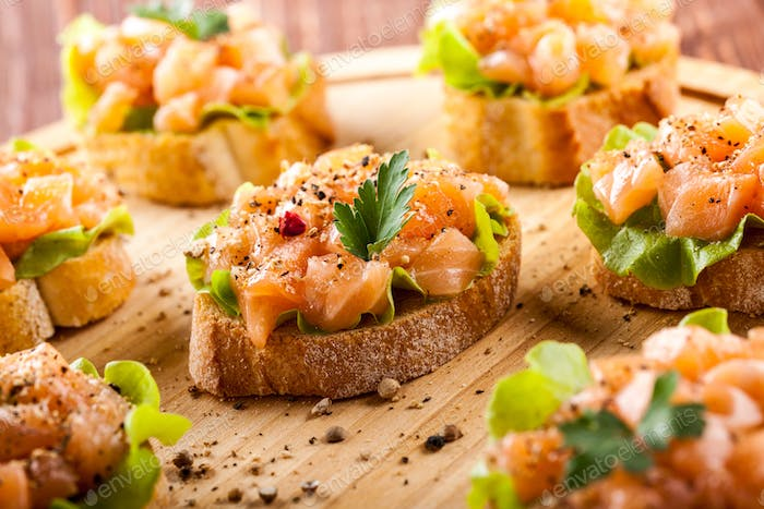 Canape with smoked salmon