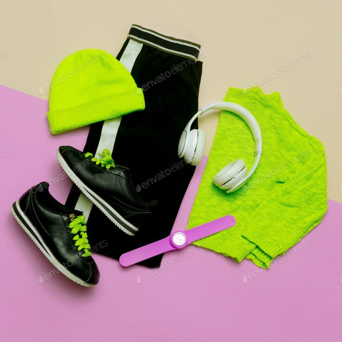 Fashion Outfit for women. Stylish clothes and bright accessories