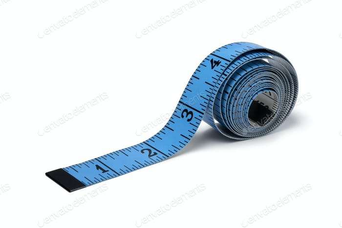 Blue measuring tape in inches