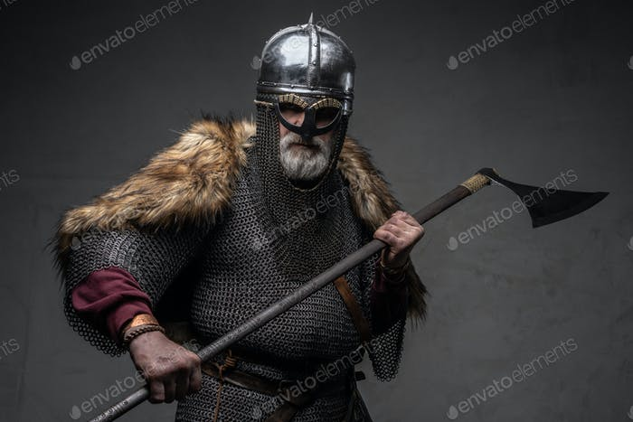 Violent viking fighter dressed in authentic armored clothing