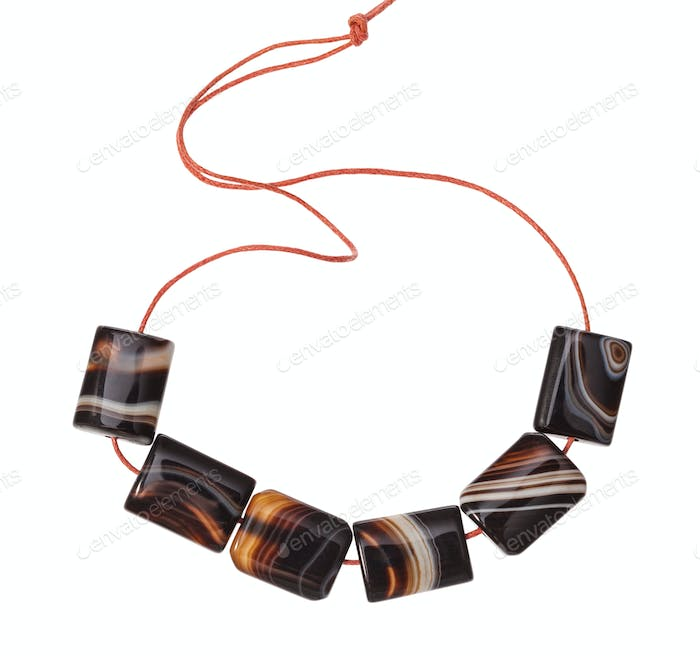beads from natural polished striped agate gemstone
