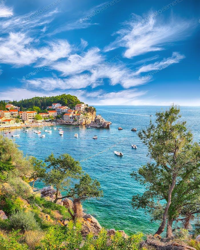 Picturesque summer view of Adriatic sea coast in Budva Riviera near Przno villag