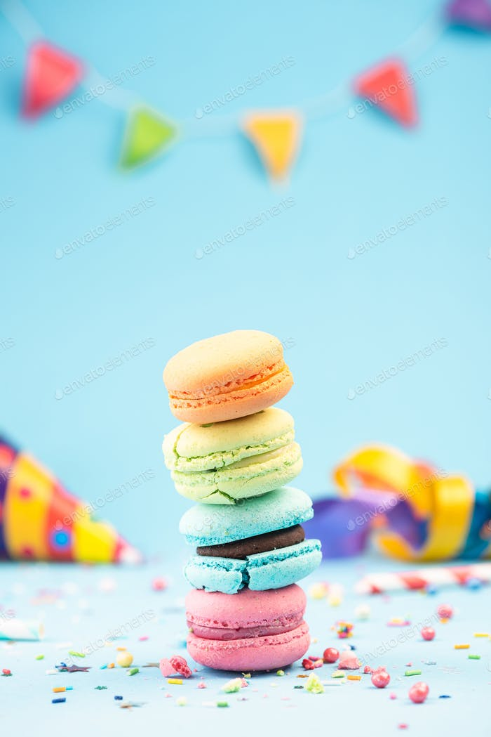 Colorful Macaroons Birthday Card or PArty Invitation Mockup Temp