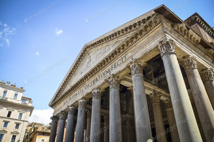 Low angle view of portico of the Pantheon in Rome, Italy.