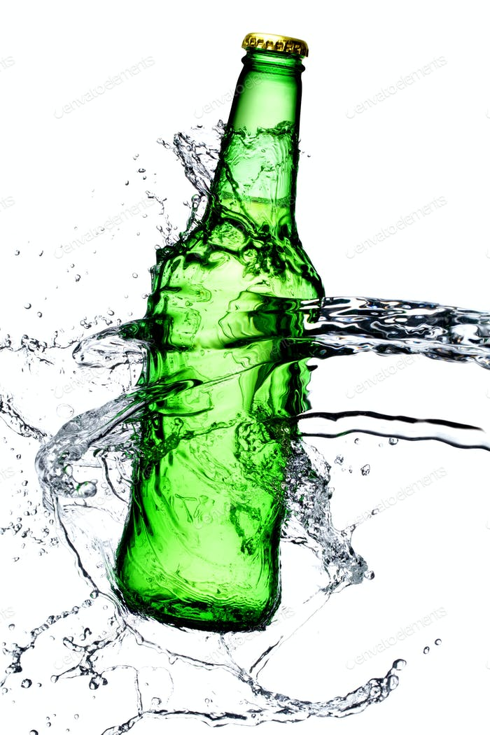 beer bottle splash