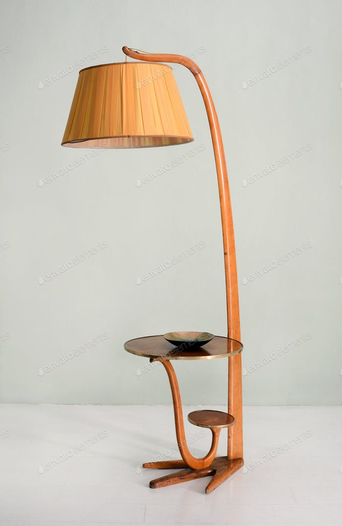 Vintage Floor Lamp with Table and Decorative Bowl