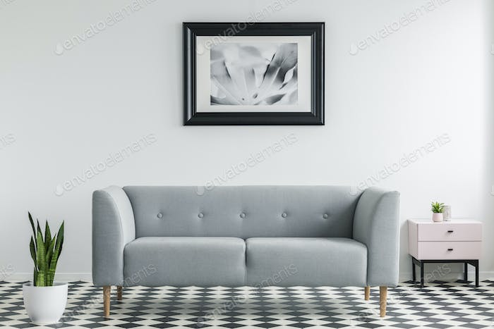 Plant next to grey settee in white and black living room interio