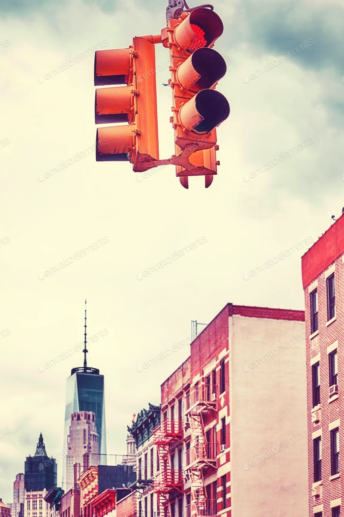 Vintage toned picture of New York City traffic lights.