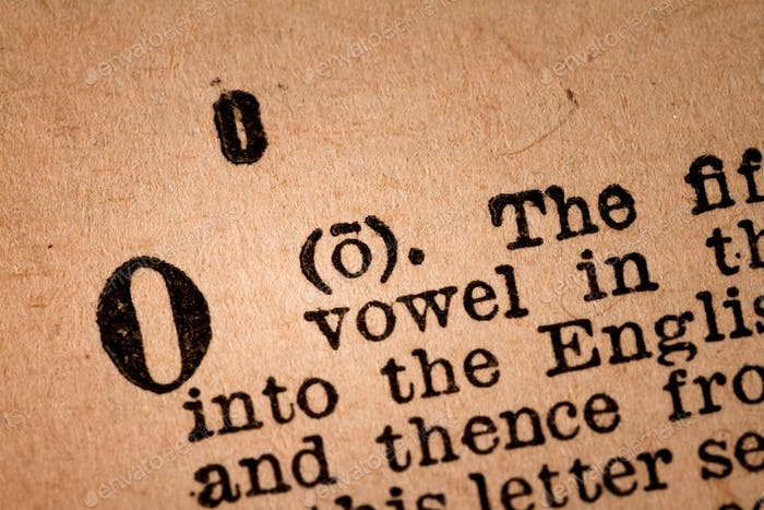 Close-up of a O, the 15th Letter of the Latin Alphabet