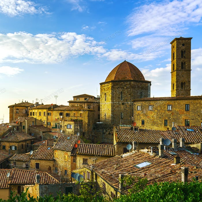 Tuscany, Volterra town skyline, church and campanile tower on su