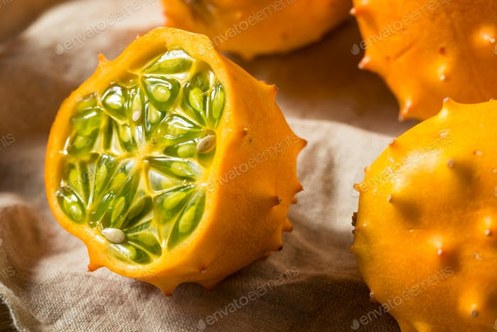 Raw Orange Organic  Kiwano Horned Melons