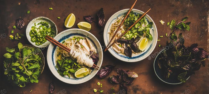 Flat-lay of Vietnamese lunch with soup Pho Ga with chicken