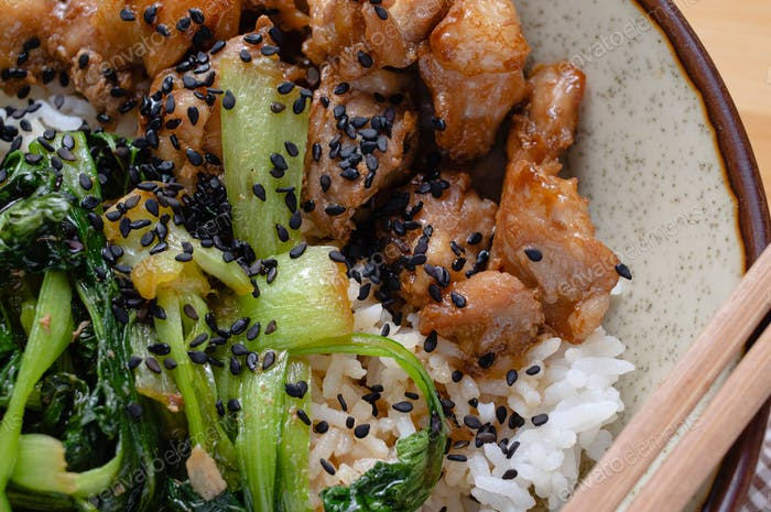 Chicken teriyaki with box choy on rice