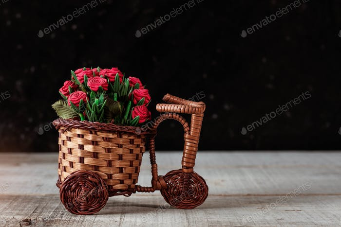 Roses on wooden floor