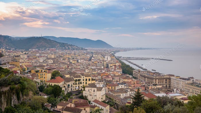 View of Salerno city at sunset