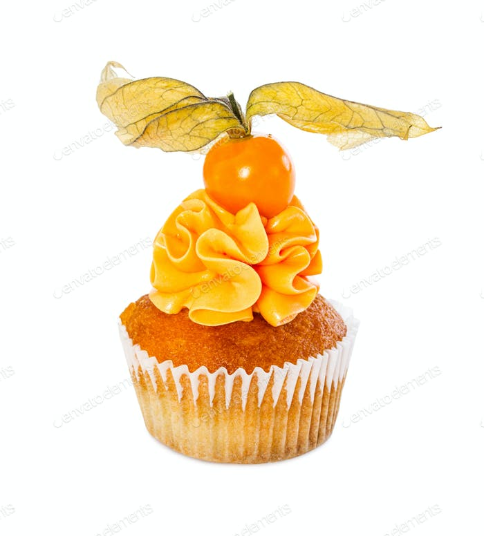 Cupcake with fresh physalis