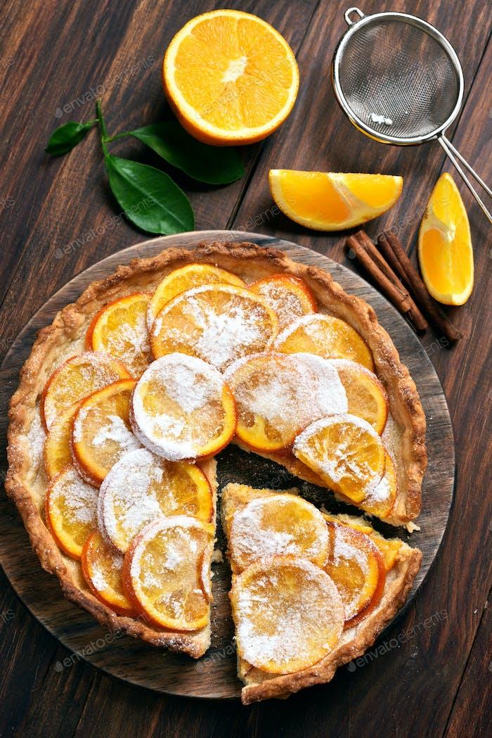 Orange pie with caramelized slices