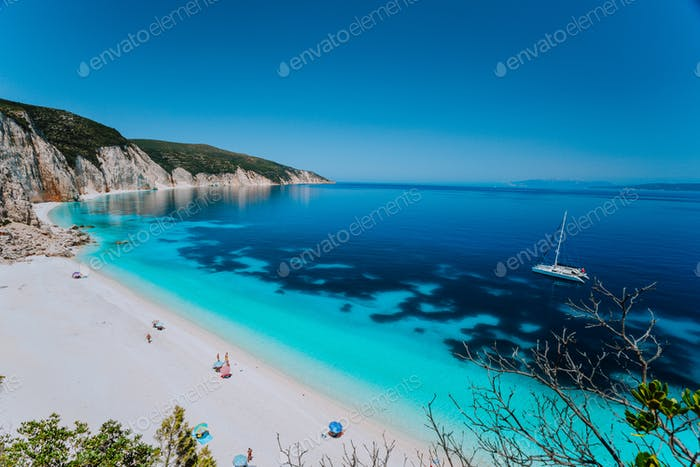 Breathtaking view of famous Fteri beach, Kefalonia, Greece Ionian islands. Summer adventure vacation