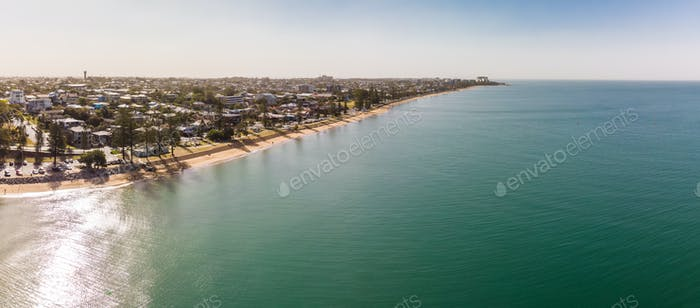 Drone view of Woody Point and Margate on Redcliffe peninsula, Br
