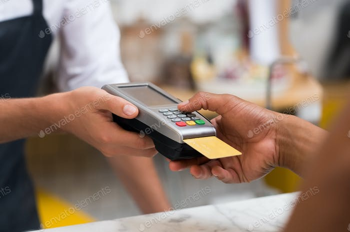 Paying by credit card reader