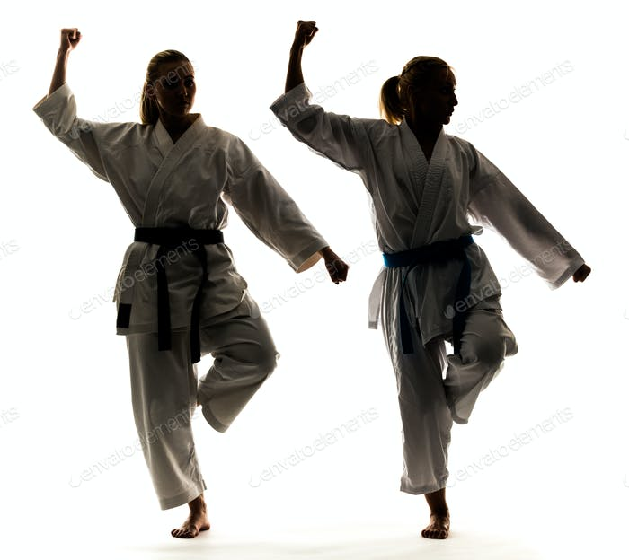 Two girls in kimono are training karate