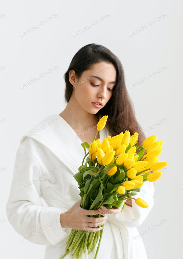 Tulips woman flower yellow tulip female portrait