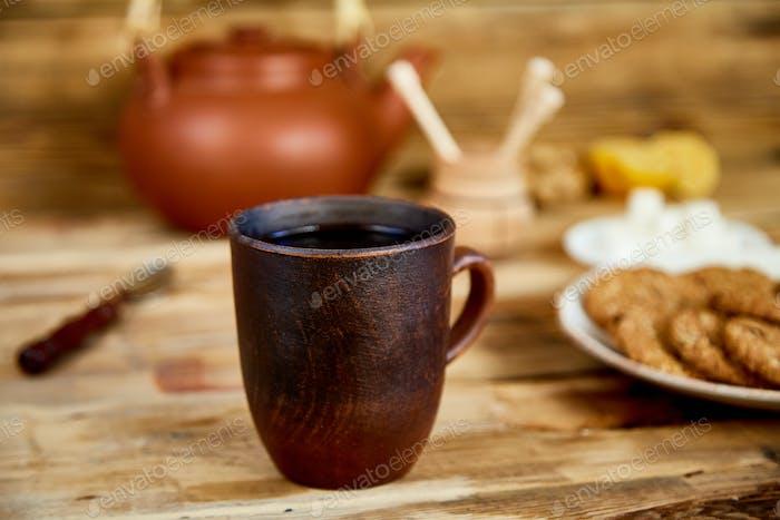 Afternoon tea, Tea Ceremony, Teapot Honey Cups of tea with cookies