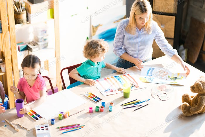 Children Painting during Art Class