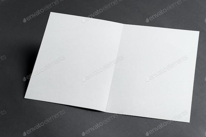 Mockup bifold template paper brochures on a black background